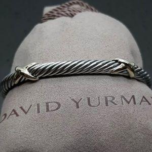 David Yurman 5mm SS & 14K Double X Bracelet